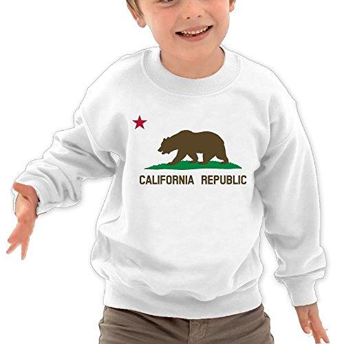 Price comparison product image Puppylol California Bear Flag Kids Classic Crew-neck Pullover Sweatshirt White 4 Toddler