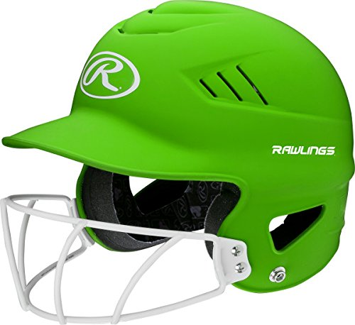 Coolflo Helmet (Rawlings Sporting Goods Highlighter Series Softball Helmet, Matte Neon Green)