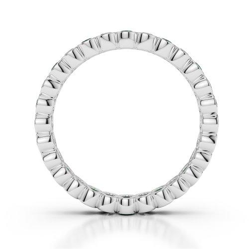 Or blanc 18carats 0.39CT G-H/VS sertie de diamants ronds découpé Émeraude et bague éternité Agdr-1099