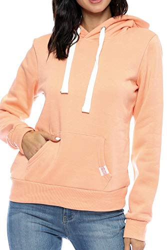 Urban Look Womens Active Long Sleeve Fleece Lined Fashion Hoodie Pullover (Large, A1 Solid Lt. Orange)