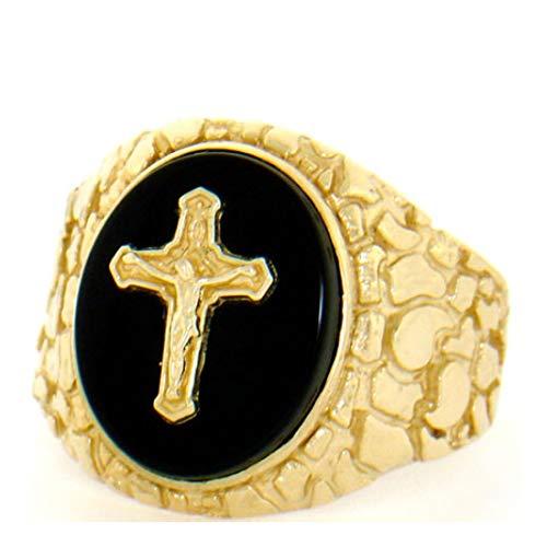 Onyx Mens Cross Ring - 10k Gold Nugget Onyx Crucifix Cross Jesus Mens Ring (Style# 2098) - Size 10