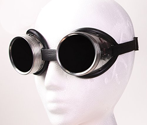 (Steampunk Metal Welding Goggles - Dark Tinted Glass Lens with Aluminum Metal and Rubber Lining)