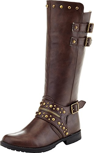 Eddie Marc Girl\'s Knee High Boots With Metallic Studs, Brown, 13 M US Little (Metallic Leather Knee Boot)