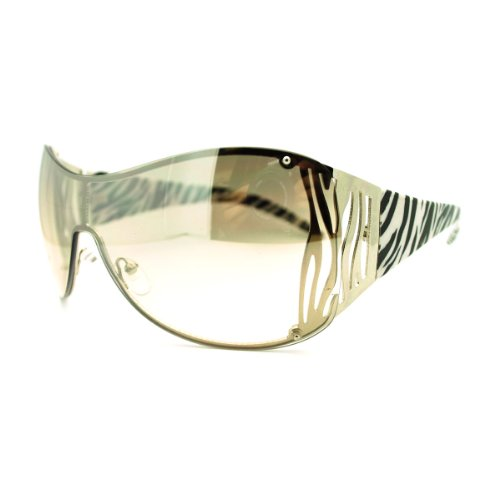 Oversized Shield Sunglasses Womens Trendy Sexy Animal Prints (silver zebra, clear smoke) (Zebra Print Glasses)