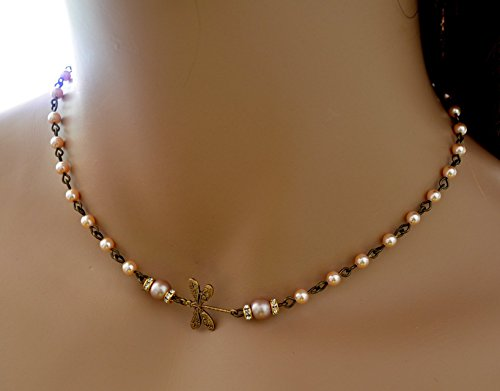 (Dragonfly necklace choker with peach Swarovski pearls in antique bronze anniversary gift prom)
