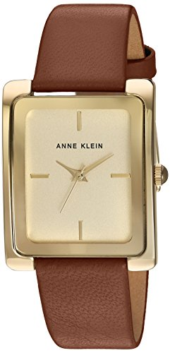 Anne Klein Women's AK/2706CHHY Gold-Tone and Honey Colored Leather Strap Watch