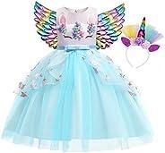 Eledobby Girls Dress Unicorn Princess Dress Costume Halloween Mesh Tulle Birthday Party Cosplay Dress Up Cloth