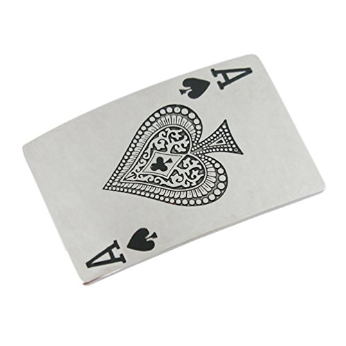 Spade Buckle (VIGOROSO Men Elegant Funny Casino Cards Poker Lucky A Ace of Spade Metal Belt)