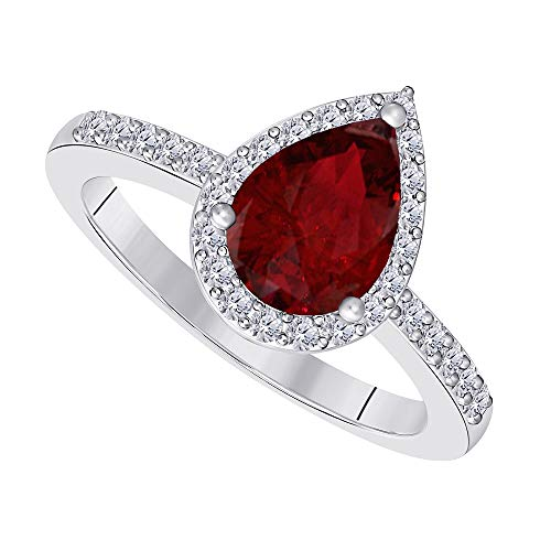 3 Carat Pear Shape Cubic Zirconia Halo Style 14k White Gold Plated Alloy Wedding Engagement Ring Womens Jewelry Ring Size 7 (Red Ruby)