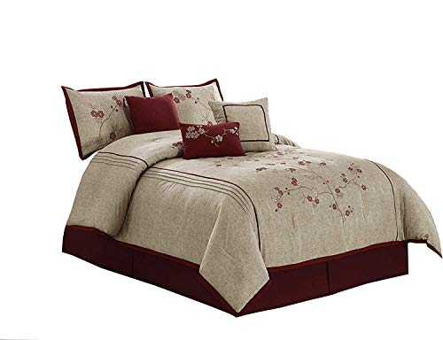 "Chezmoi Collection Miki Luxury 7-Piece Red Cherry Blossoms Floral Embroidery Bedding Comforter Set (Queen, 90"" x 92"")"