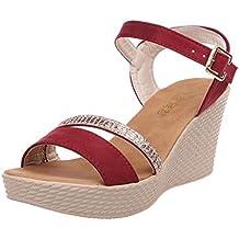 GBSELL Women's Lady Summer Boho Bohemia Wedge Platform High Heels Sandal Shoes (6.5, Red)