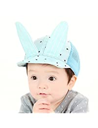 Lalawow Baby Hats Brim Foldable Baby Mesh Caps with Adjustable Nylon Buckle for 6-18 Month Baby (Blue)