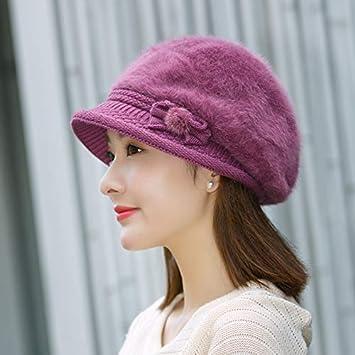 Sombrero mujer invierno moda marea conejo piel sombrero cálido punto lana  sombrero otoño e invierno cuenca e527560d549