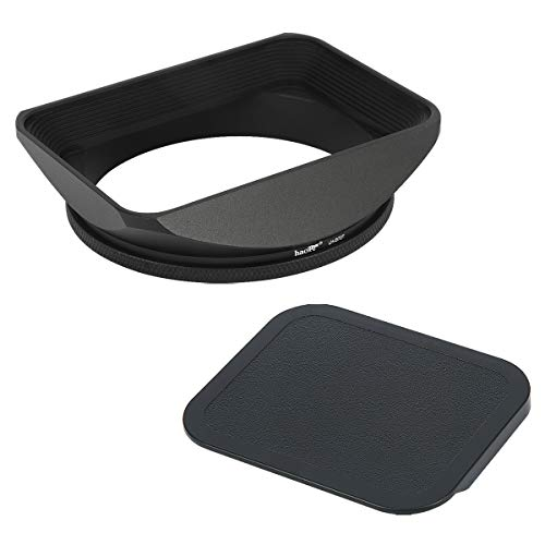 Haoge 72mm Square Metal Screw-in Mount Lens Hood Shade with Cap for 72mm Canon Nikon Sony Leica Leitz Carl Zeiss Voigtlander Nikkor Panasonic Fujifilm Olympus Lens and Other 72mm Filter Thread Lens