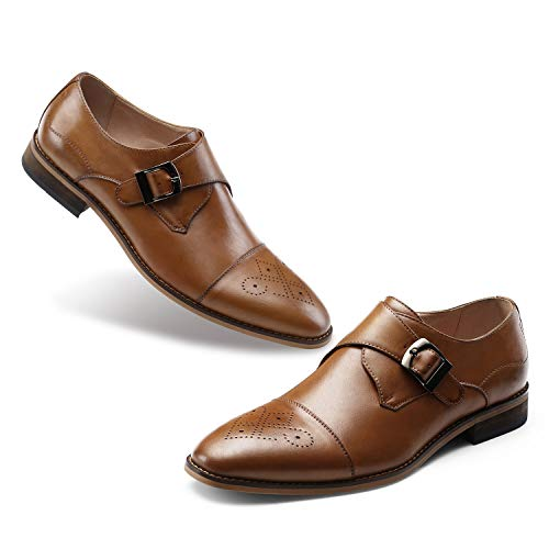 (Men's Monk Shoes Slip On-Stylish Dress Shoes Leather Loafer Single Monk-Strap Buckle Cap Toe Brogue Brown)