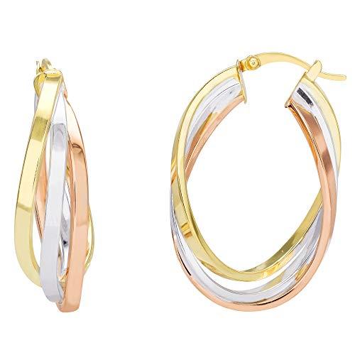 Ellen Tracy Sterling Silver Tri Color Twisted Oval Hoop Earrings ()