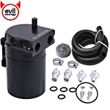"EVIL ENERGY Baffled Universal Oil Catch Can Reservoir Tank Kit with 3/8"" NBR Fuel Line and Steel Wool Aluminum Black 400ml"