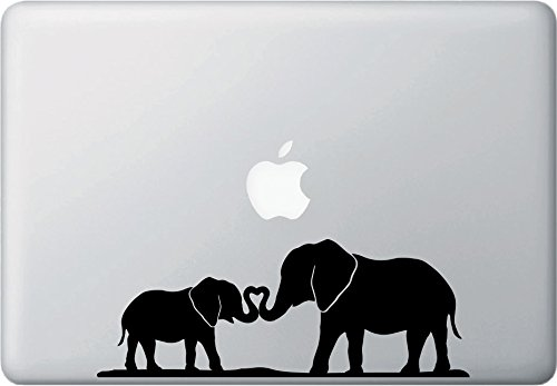 Elephant Mom and Baby with Trunk Heart - D1 - Macbook or Laptop Decal - Copyright © Yadda-Yadda Design Co. (8.5