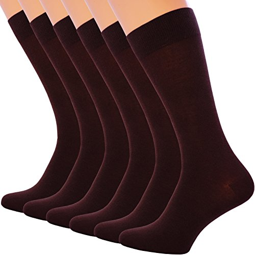 6 Pack Dress Socks for Mens Cotton Mid Calf Black Brown Dark Blue (10-13, BROWN)