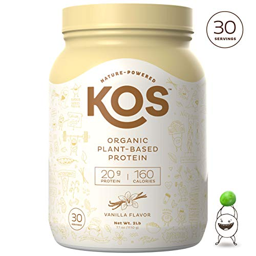 KOS Organic Plant Based Protein Powder – Raw Organic Vegan Protein Blend, 2.2 Pound, 30 Servings (Vanilla)