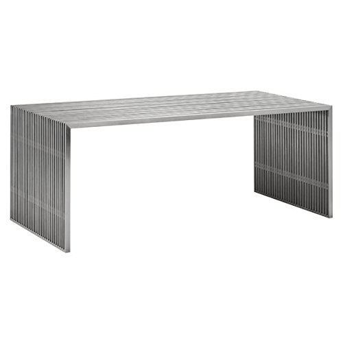 Zuo Modern Modern Desk (Zuo Modern 100082 Novel Dining Table in Brushed Stainless Steel; Like Support Beams in a High Rise, The Table is Strong and Sturdy; Made From 100% Stainless Steel; 250 lbs Weight Capacity)