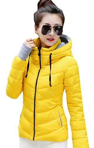 Gocgt Womens Warm Without Weight Women's Ultralight Down Jacket with Hood Yellow