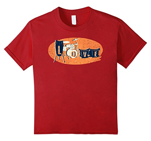 Kids Love with Percussion Intruments Cute T-Shirt Drummer Gift 10 Cranberry