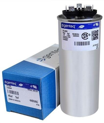 Packard PRCFD455 • 45 + 5 uF MFD x 440 VAC Genteq Replacement Dual Capacitor Round # C4455R / 27L889 (440v Capacitor)