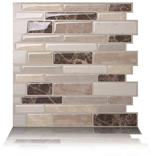 Tic Tac Tiles Peel and Stick Self Adhesive Removable Stick On Kitchen  Backsplash Bathroom 3D Wall Tiles in Polito Design (Bella, 10)