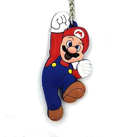 Super Mario Bros Llavero de Goma Figura Doble Cara - 8 cm ...