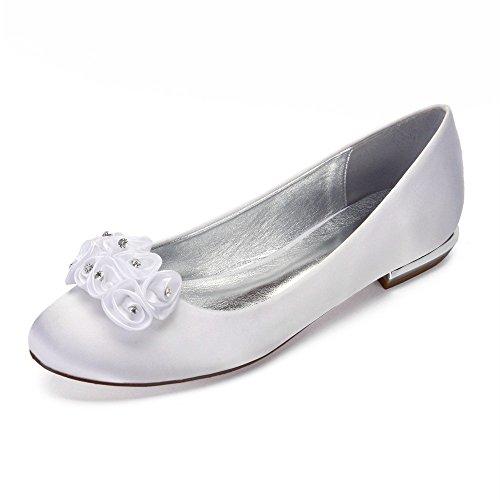 tête blanc Robe Bas Chaussures Chaussures Dentelle Femmes Nuptiale Mariage Chaussures Parti de Chaussures Satin Talon Ronde Danse à Zxstz Fleur HwYqTEW