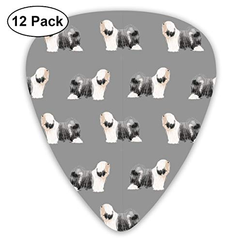 Tibetan Terrier Dog Breed Standing Grey Classic Celluloid Picks, 12-Pack, For Electric Guitar, Acoustic Guitar, Mandolin, And ()