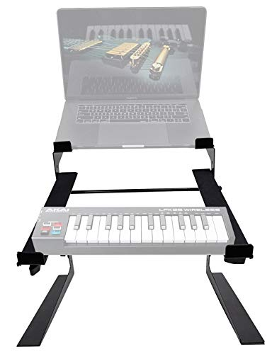 Rockville Dual Shelf Laptop+Controller Stand for Akai LPK25 Keyboard