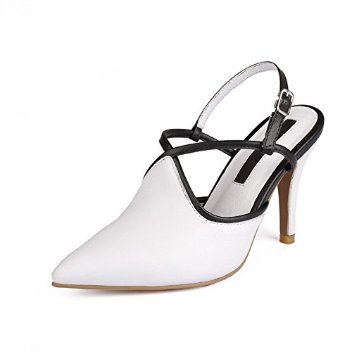 Buckle White Sheepskin Solid Pointed Womens Shoes Spikes Toe Pumps Stilettos AmoonyFashion P457Z