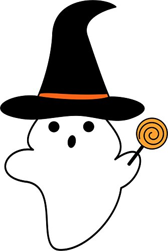 (Halloween Spooky Ghost Witch Hat With Lollipop Candy Cartoon Vinyl Decal Sticker (12