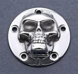 3D High Polished Skull ignition system cover. Fits: Harley 5-Hole Cam Covers.