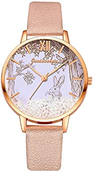 UKCOCO Kid Quartz Watch - Cartoon Cute Watch with Leather Watch Band Rabbit Printing Watch for Girls Kids