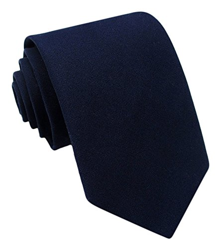 Kebs Basic Mens Solid Color Cotton Necktie Regular Tie for Men - Navy