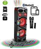IDOLMAIN IPSDJ05 Rechargeable Bluetooth Karaoke Dual 12' Speaker W/Built-in Amplifier, Dual High Sound Quality Wireless Microphones, FM Radio, USB/SD/AUX, Recording & Club Style LED Lights (IPS-DJ05)