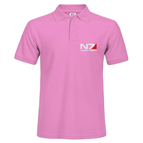 New Men Casual Slim Fit Short Sleeves X-large Basic Polo Tee Pink Shirts N7 Academy Program -