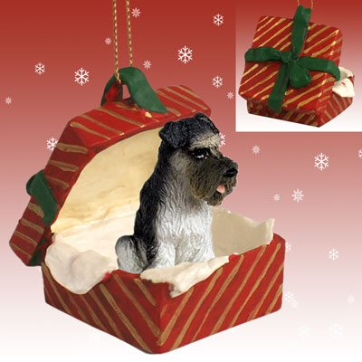 - SCHNAUZER Dog Grey Uncropped Ears n RED Gift Box Christmas Ornament Resin RGBD103B
