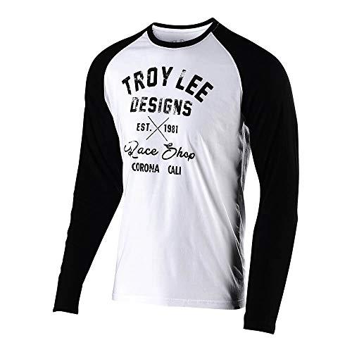 Troy Lee Designs Mens Long Sleeve Vintage Race Shop T-Shirt (X-Large, White/Black)