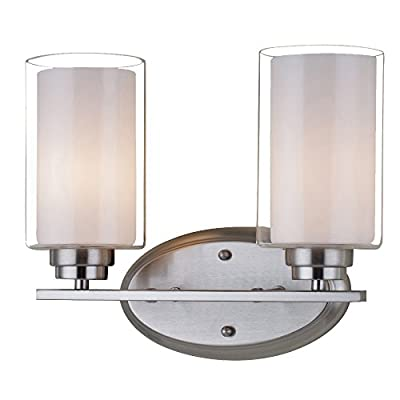 LNC Industrial Edison Vintage Style 2-light Wall Sconce Glass Shade Satin Nickel Plated Lamp