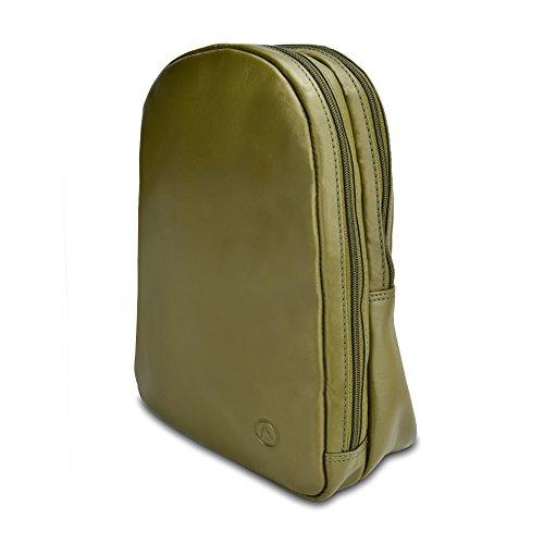 AQILA Damen Mini Rucksack Tasche Echt Leder Olive olivegrün