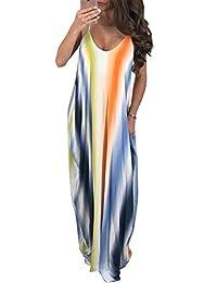 NANYUAYA Women Summer Sleeveless V Neck Sun Tie Dye Spaghetti Strap Maxi Long Dress