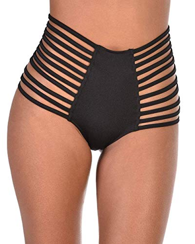 iHeartRaves Black Super Strappy High Waisted Booty Shorts (Small) (Best Pole Dancing Clothes)