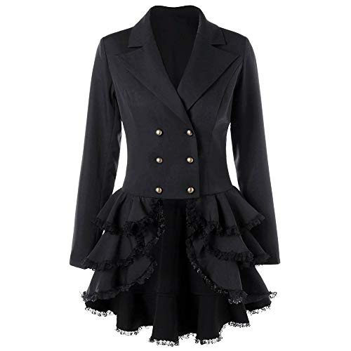 DongDong❤ Women Swing Double Breasted Coat,Lapel Blazer Suit Pea Coat Buckle Slim Lace Flounce Long Sleeve Outwear (X-Large, Black) from DongDong