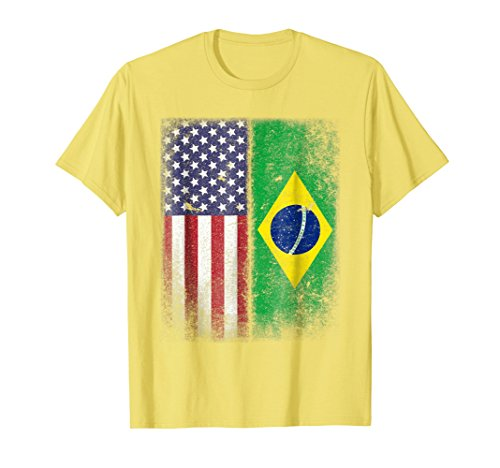Mens Brazilian American Flag T-shirt Brazil Pride Brasil Medium Lemon