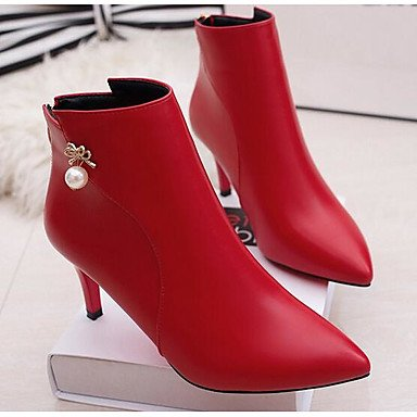 Botas de mujeres PU Confort confort informal de resorte plano Negro Gris rojo Gray