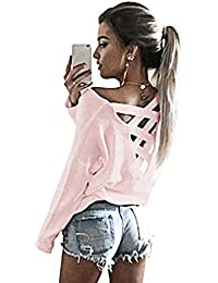 Women's Cut Out Loose Pullover Criss Cross Backless Sweater Shirt Top